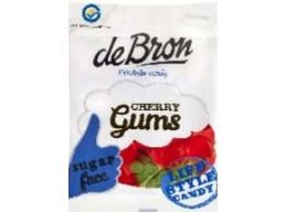 De Bron Sugar Free Cherry Gums Sweets 90g Bag