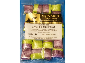 Apple & Blackcurrant Monarch Sugar Free Boiled Sweets 100g