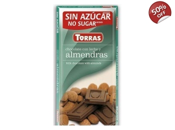 Milk Chocolate With Almonds 75g No Added Sugar Gluten Free