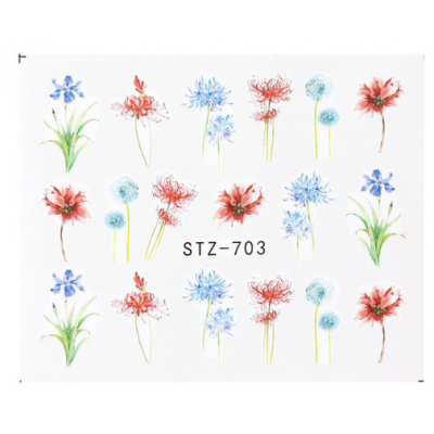 Wispy Flowers Water Decal