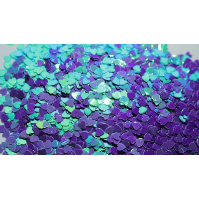 Heart Glitter Mix - Iridescent Purple