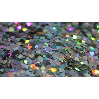 Heart Glitter Mix - Holographic Silver