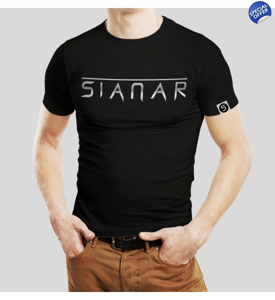 Sianar T-Shirt Unisex Slim Fit - Silver on Black