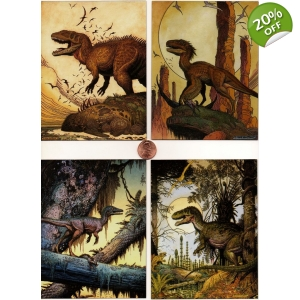 4 Fearsome Predators Magnet Set- art by William ..