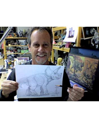 Original Dino Drawing by Charlie Chiodo