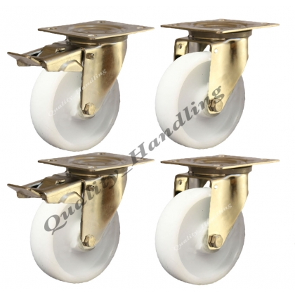 4 - 125mm stainless steel nylon swivel & braked castors 200kg each