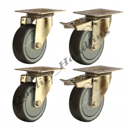 4 - 125mm stainless steel rubber swivel & braked castors