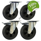 4 - 200mm Castors black rubber 2 swive..