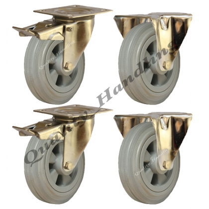 4 - 200mm stainless steel rubber fixed & braked castors