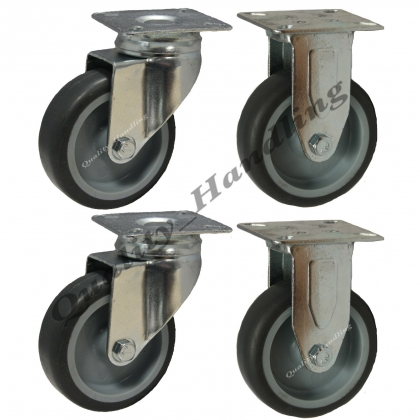 4 - 75mm Castors non marking grey rubber 2 fixed & 2 swivel castors
