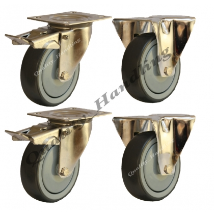 4 - 80mm stainless steel rubber fixed & braked castors