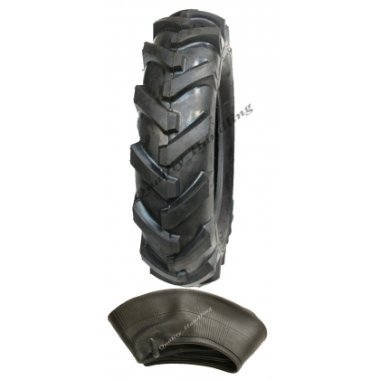 400 8 cleated tyre. open cente,lug, chevron + tube - 4ply