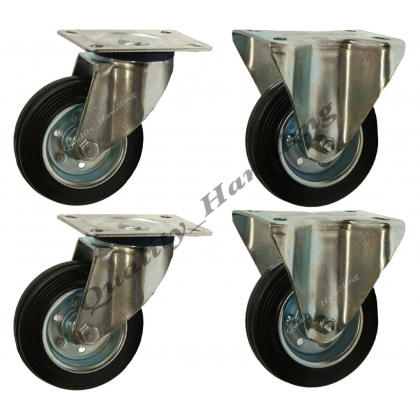 4-100mm 4 inch Black rubber swivel & fixed castors 100kg each