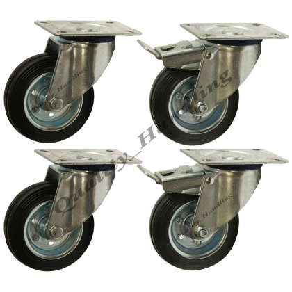 4-160mm 6 inch Black rubber swivel & swivel braked castors