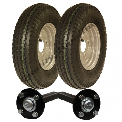 High speed trailer kit 4.80/4.00-8 road legal wheels+hub & stub axle