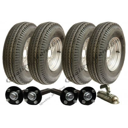 High speed twin axle trailer kit 5.00-10,wheels hub & stub axle hitch