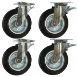 4 - 200mm Waste bin castors, swivel & ..