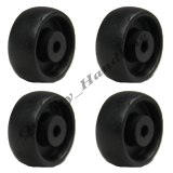 4 - 1.25 inch 32mm black nylon wheels