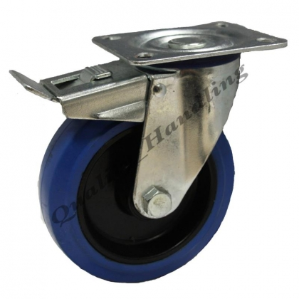 1-125mm heavy duty elastic rubber castors braked 170kg each