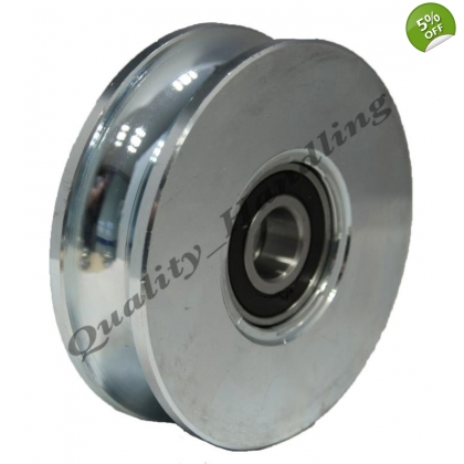 "100mm pulley wheel Round groove Double bearing 4"" steel wheel wide"