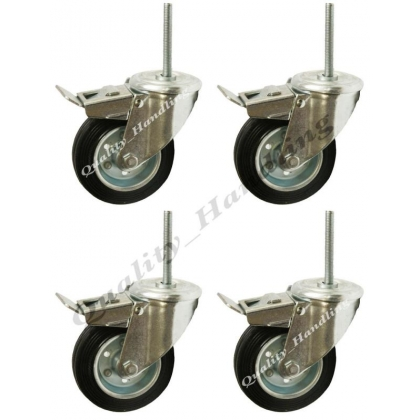 4 - 125mm black rubber bolt hole swivel braked castors bolt 100kgs