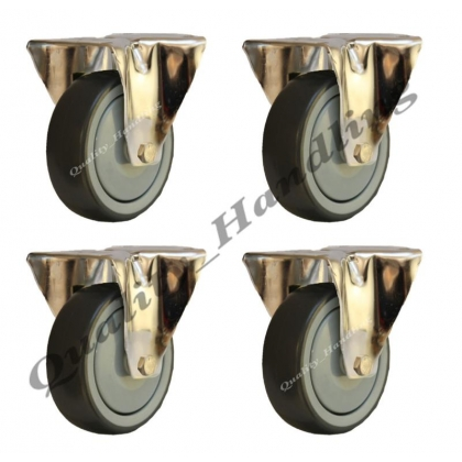 4 - 125mm stainless steel rubber fixed castors