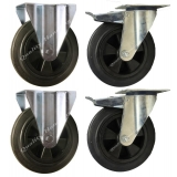 4 - 200mm Castors black rubber 2 brake..