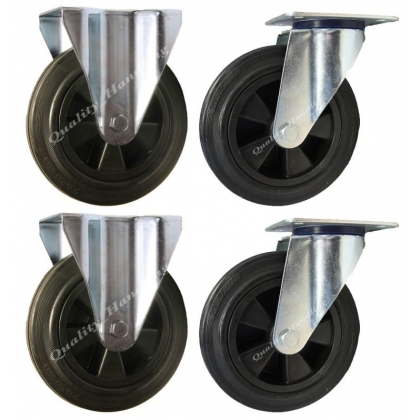 4 - 200mm Castors black rubber 2 swivel 2 fixed 200kg each