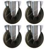 4 - 200mm Castors black rubber fixed 2..