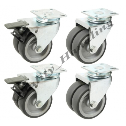 "4 - 75mm 3"" twin wheel rubber plate swivel and braked castors"