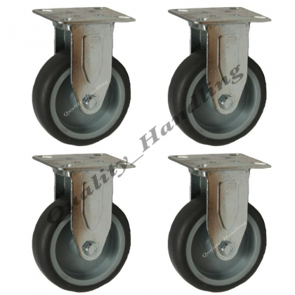 4 - 75mm Castors non marking grey rubber 4 fixed position castors