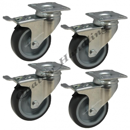 4 - 75mm Castors non marking grey rubber 4 swivel with brake