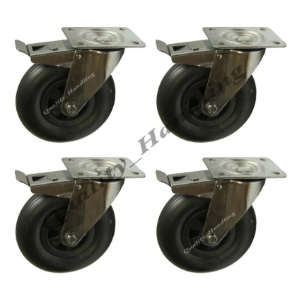 "4 - 8"" inch 200mm puncture proof braked castors 200x50mm"