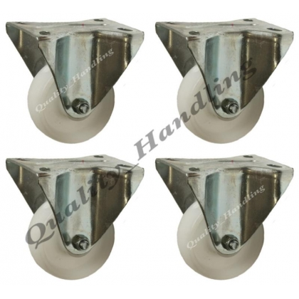 "4 - 80mm 3"" inch nylon castors - heavy duty fixed castor"
