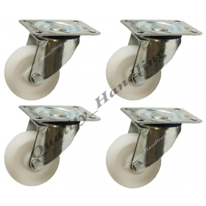 "4 - 80mm 3"" inch nylon castors - heavy duty swivel castor"