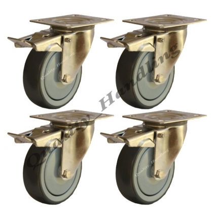 4 - 80mm stainless steel rubber braked castors 60kg each