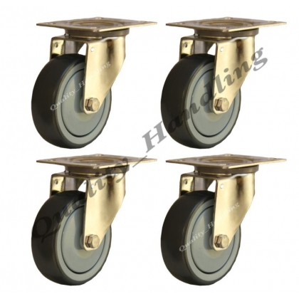 4 - 80mm stainless steel rubber swivel castors 60kg each