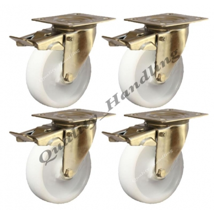 4-100mm-stainless steel nylon braked castors