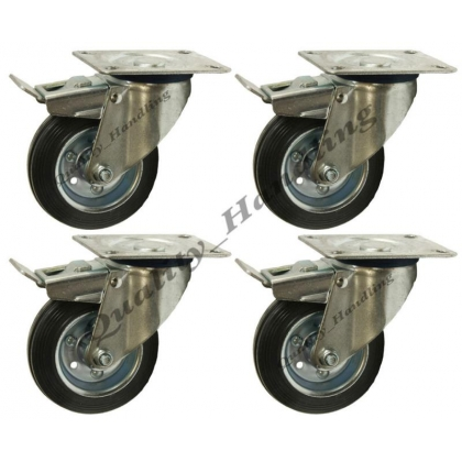4-160mm 6 inch Black rubber swivel braked castors 150kg each