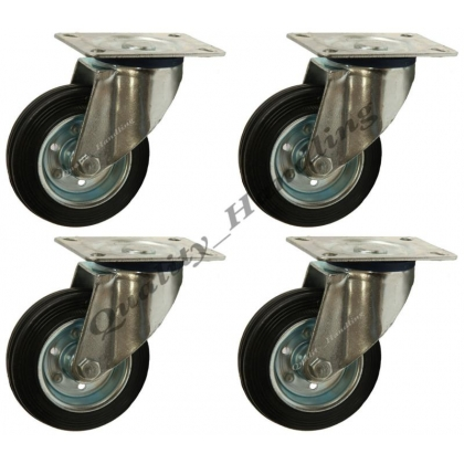 "4-160mm 6"" Black rubber swivel castors"