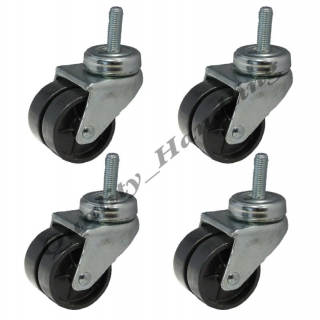 4 - 50mm twin wheel black nylon bolt h..