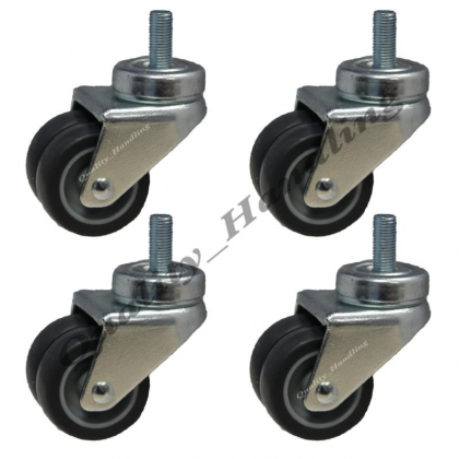 4 - 50mm twin wheel rubber bolt hole swivel castors