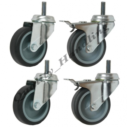 4 - 75mm 3 inch bolt hole swivel & braked castors with bolt fitting