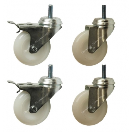 "75mm 3"" bolt hole castors 2 swivel and 2 braked castors"