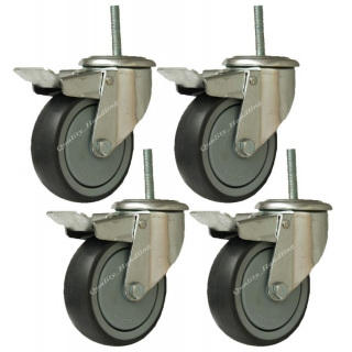 4 - heavy duty rubber bolt hole castor..