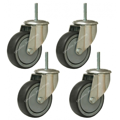 4 - heavy duty rubber bolt hole castor with bolt fitting