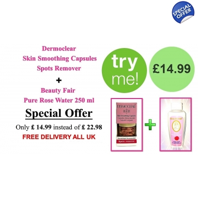 "Special Offer ""TRY ME"" Dermoclear Skin Smoothing Capsules + Beauty Fair Pure Rose Water"