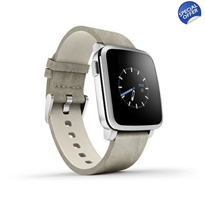 Pebble Time Steel Smartwatch for Apple/Android Devices - Silver title=