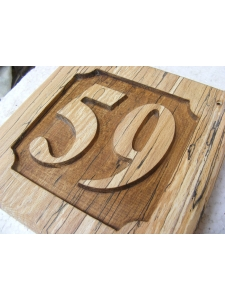 Wooden Square Embossed House Number