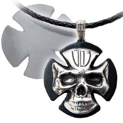 Leather & Metal Iron Cross/Skull Necklace